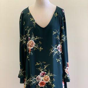 Forest Green Floral Dress